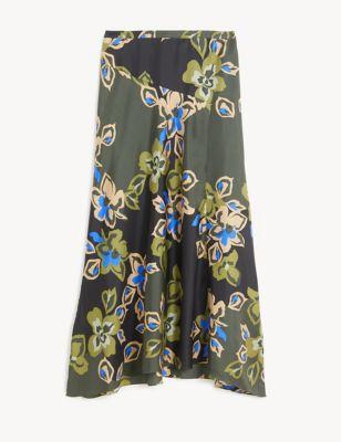 Silk Floral Midi A-Line Skirt