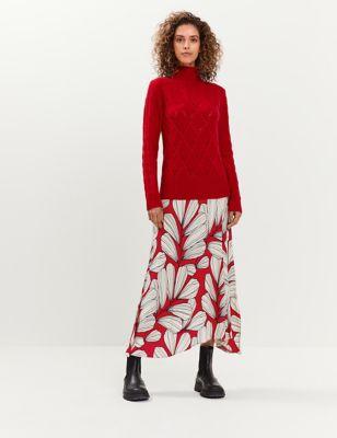 Leaf Print Midi A-Line Skirt