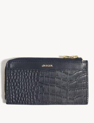 Leather Croc Card Holder