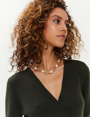 Pearl & Gold Link Chain Necklace