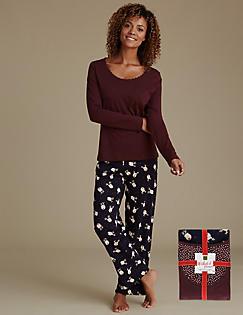 4941f0843850 Pure Cotton Reindeer Print Pyjamas