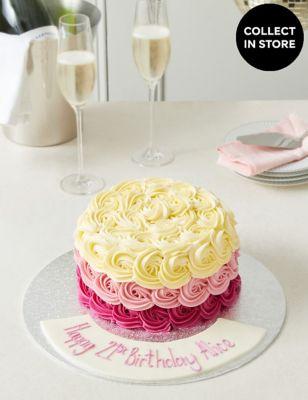 Personalised Piped Rose Sponge Cake (Serves 24)