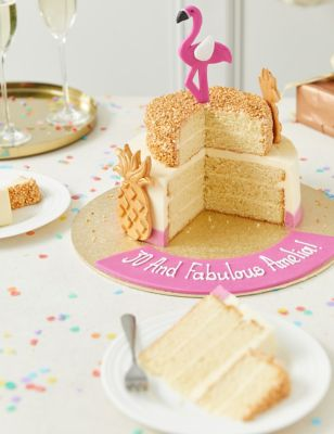 Personalised Tropical Flamingo Cake (Serves 28)