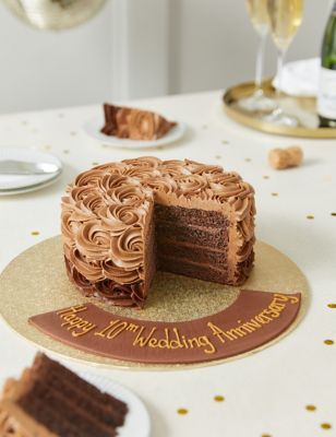 Personalised Piped Shimmering Rose Chocolate Cake (Serves 20)
