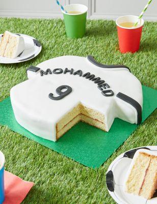 Personalised Black & White Sports Shirt Cake (Serves 30)