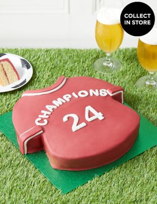 Personalised Red & White Sports Shirt Cake (Serves 30)