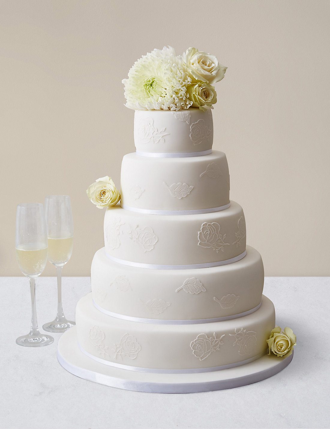 Embroidered Lace Wedding Cake White Icing Serves 150