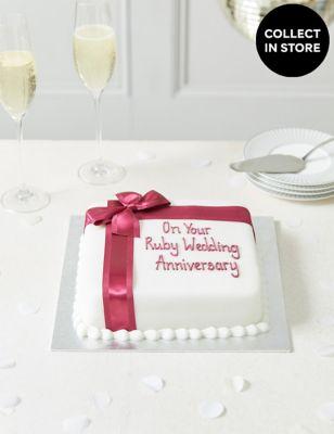 Personalised Celebration Sponge Cake with Burgundy Ribbon (Serves 30)