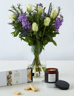 Thinking of you Bouquet, Shortbread & Candle Gift