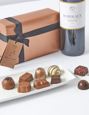 Red Wine & Belgian Chocolates Gift Selection
