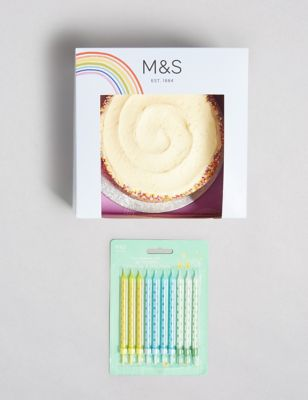 Rainbow Cake with Happy Birthday Cake Topper