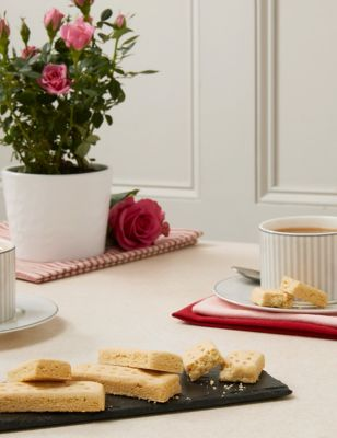 Rose Plant with Luxury Gold Tea & All Butter Shortbread Biscuits Gift