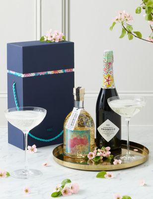 Cherry Blossom Glitter Gin Globe & Prosecco Gift