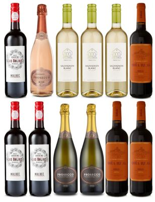Mixed Case of Red, White, Rosé & Prosecco - Case of 12