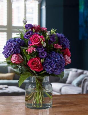 Collection Deep Purple Hydrangea & Rose Bouquet