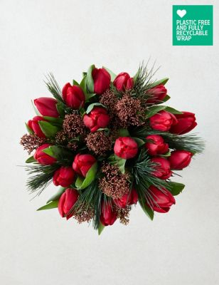 Ready To Arrange Red Tulips Bouquet (Delivery from 18th November 2021)