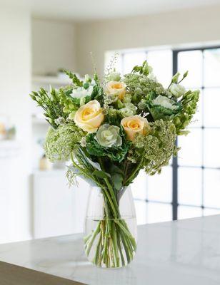 Cream Rose & Brassica Bouquet