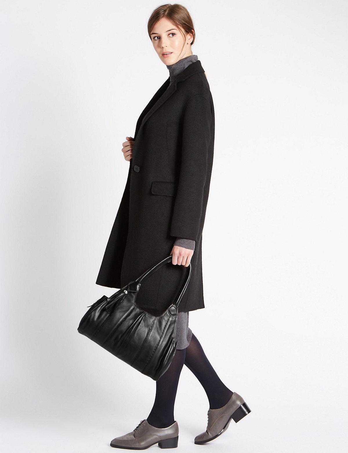 M&S Collection Pure Leather Apron Shoulder Bag