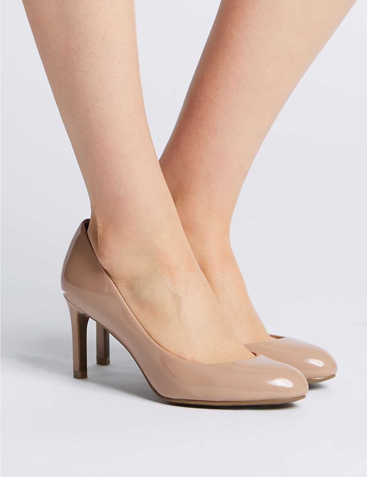 Wide Fit Stiletto Heel Court Shoes Brown