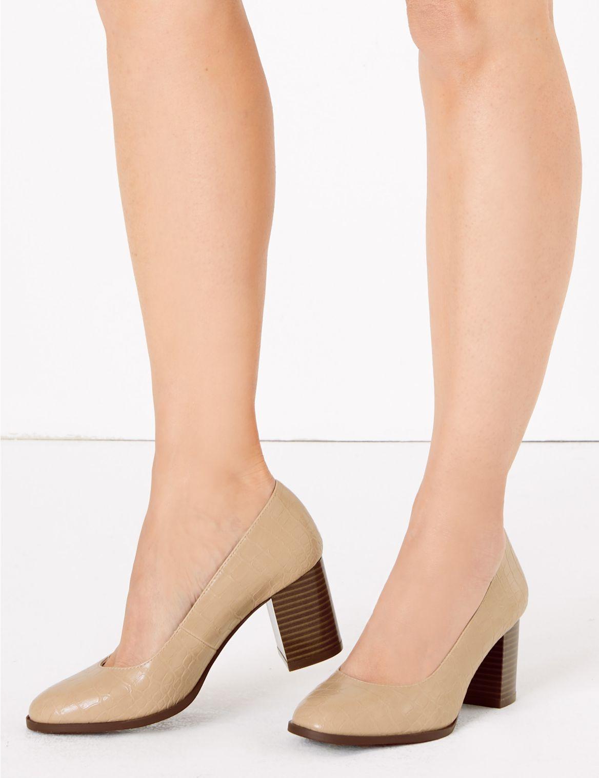 Block Heel Court Shoes Beige