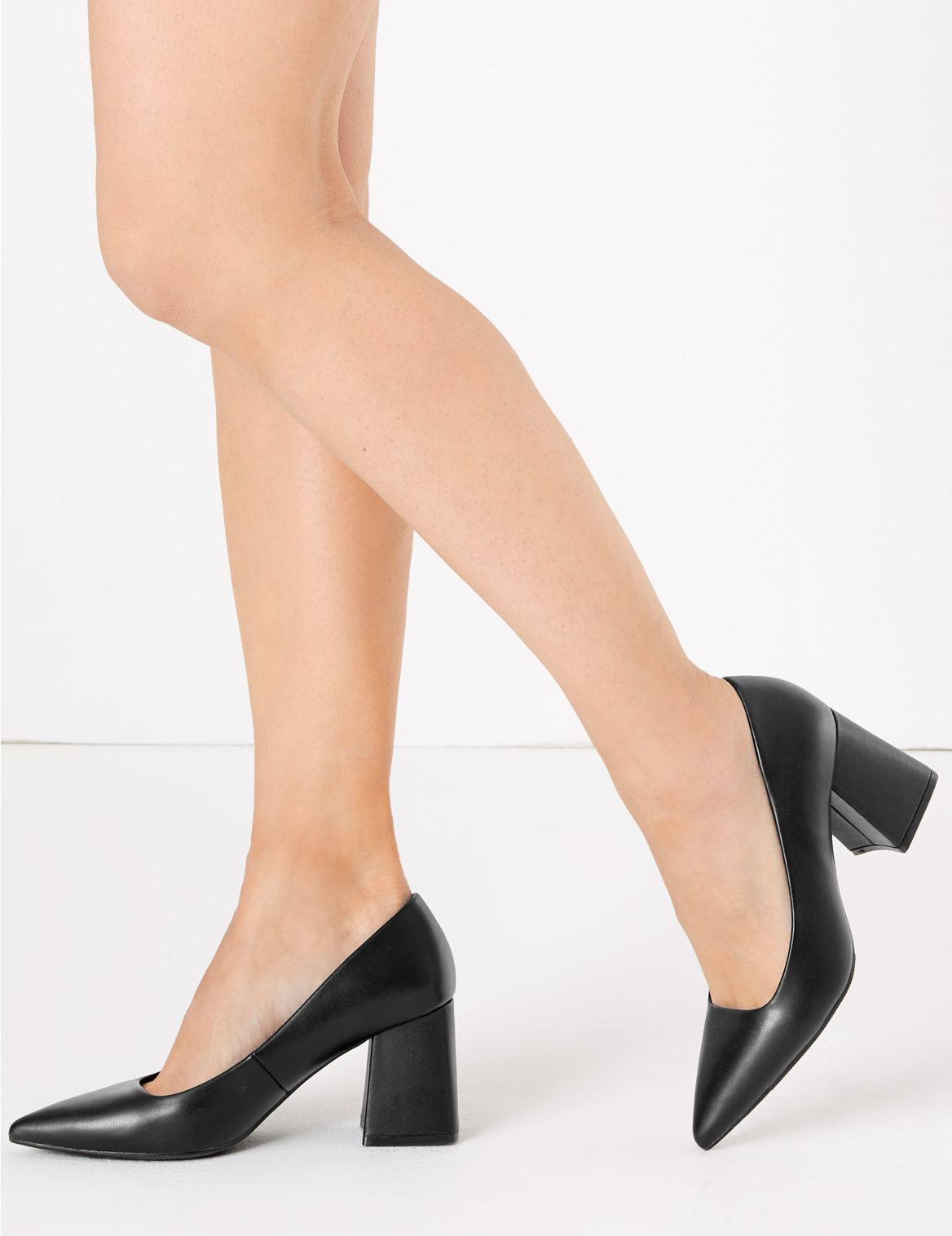 Block Heel Pointed Court Shoes Black