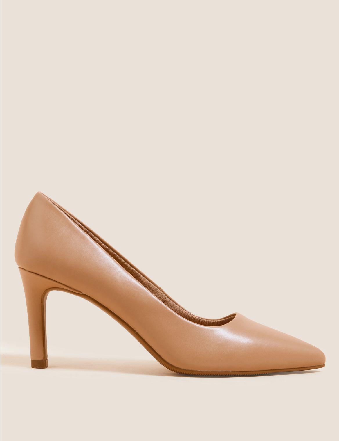 Stiletto Heel Pointed Court Shoes Beige