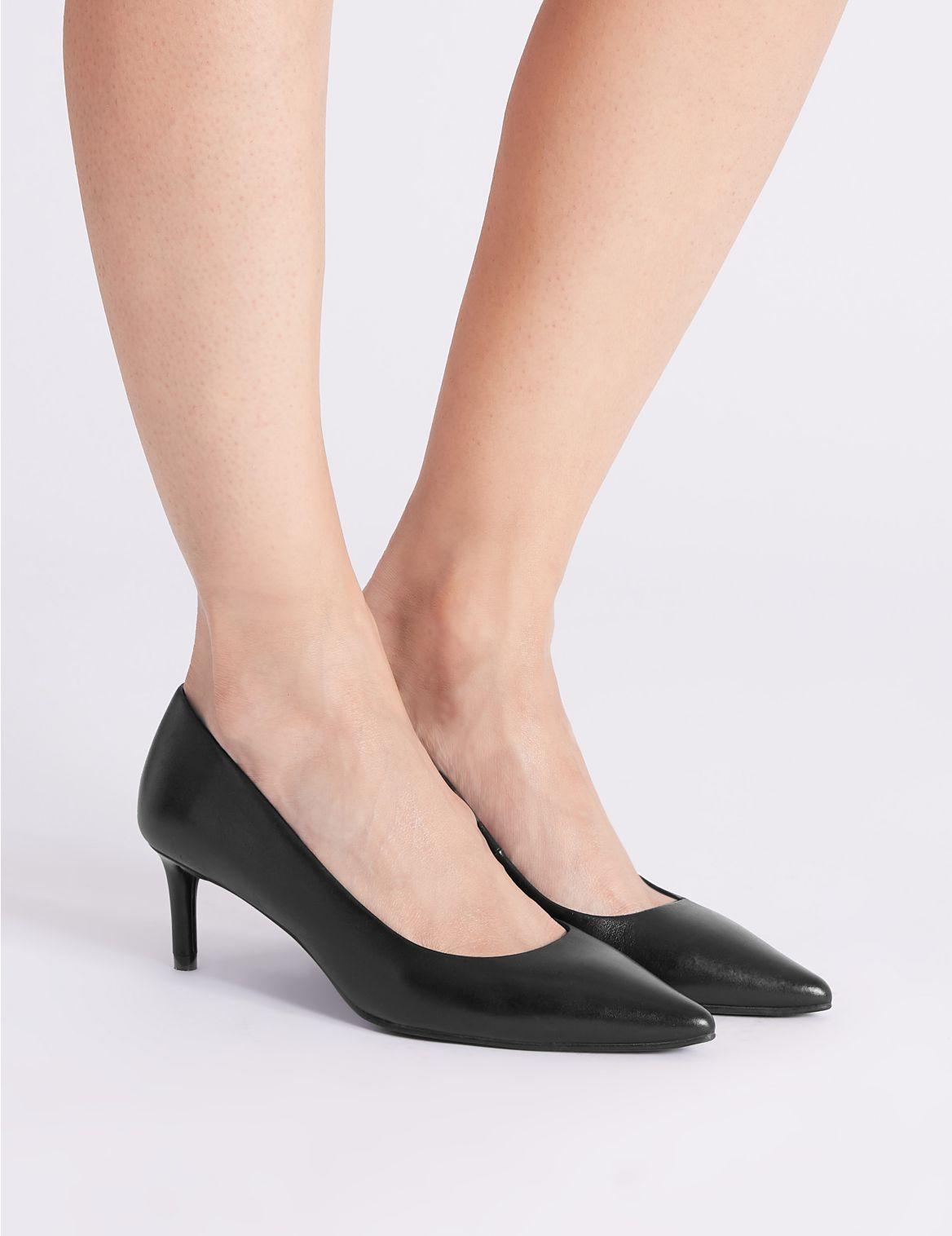 Leather Kitten Heel Court Shoes Black