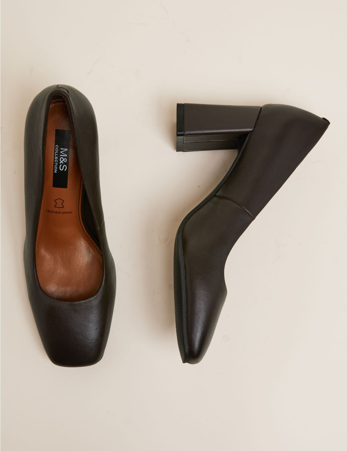 Leather Block Heel Square Toe Court Shoes Brown