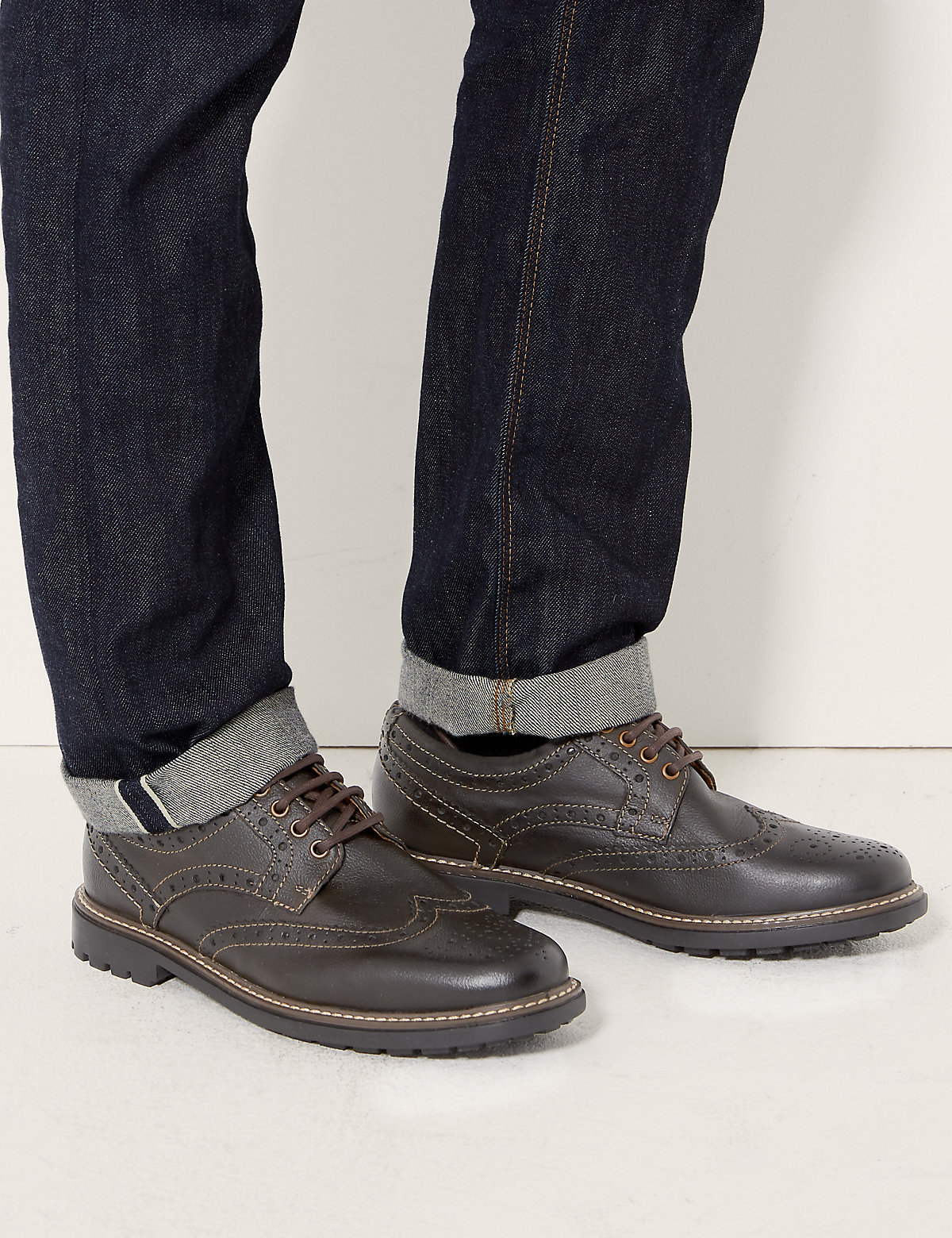 Blue Harbour Leather Laceup Heavy Sole Brogue Shoes
