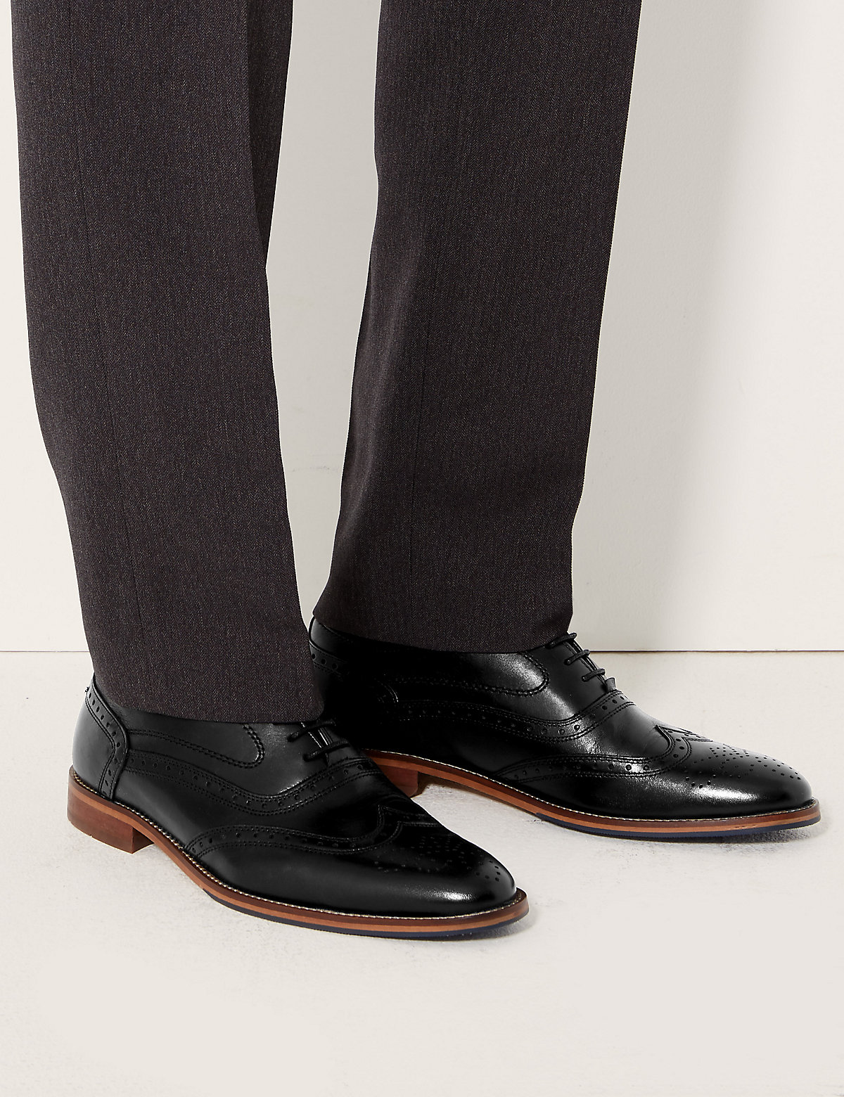 M&S Collection Leather Layered Sole Brogue Shoes