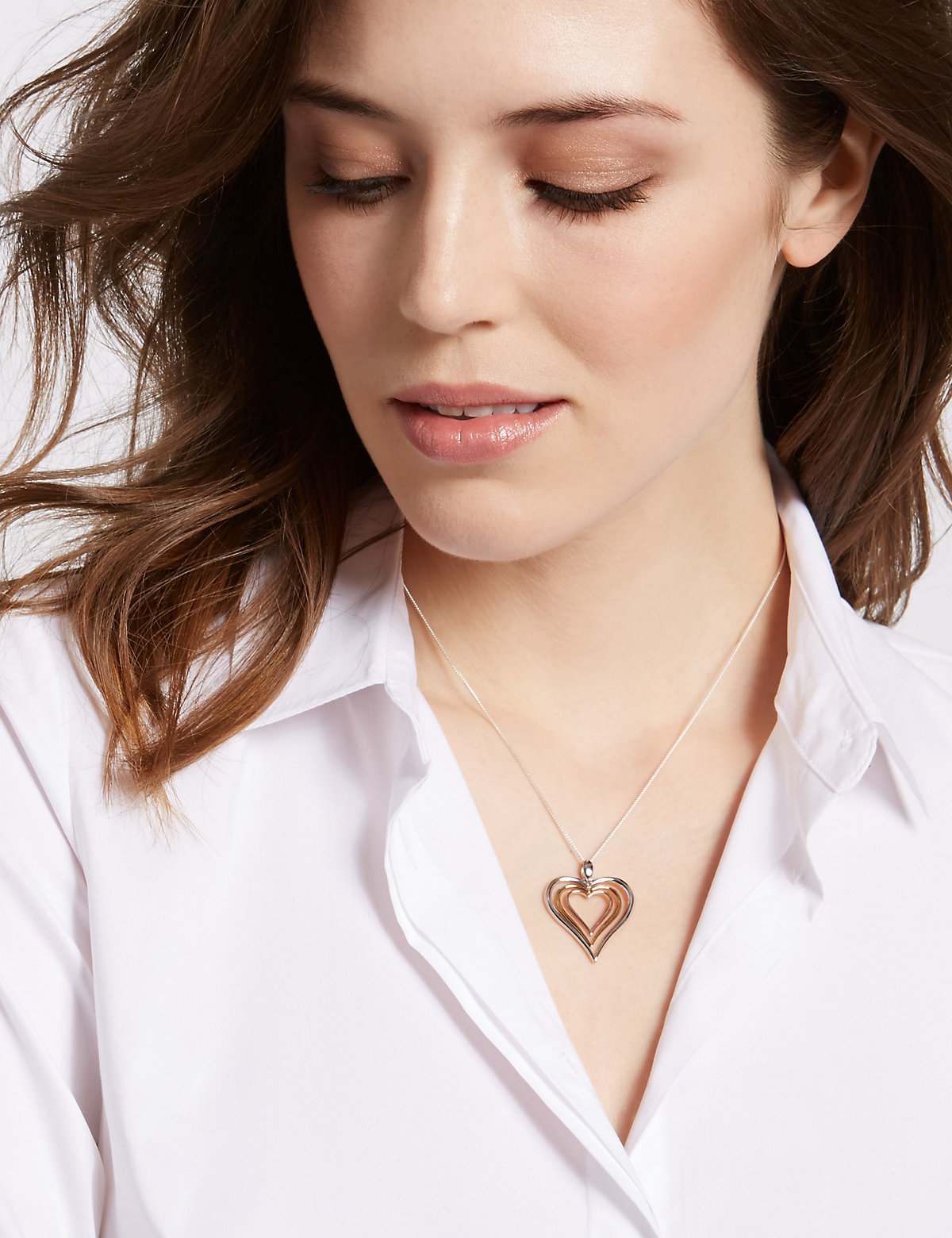 M&S Collection Sterling Silver Necklace with 18ct Yellow & Rose Gold Plated Hearts