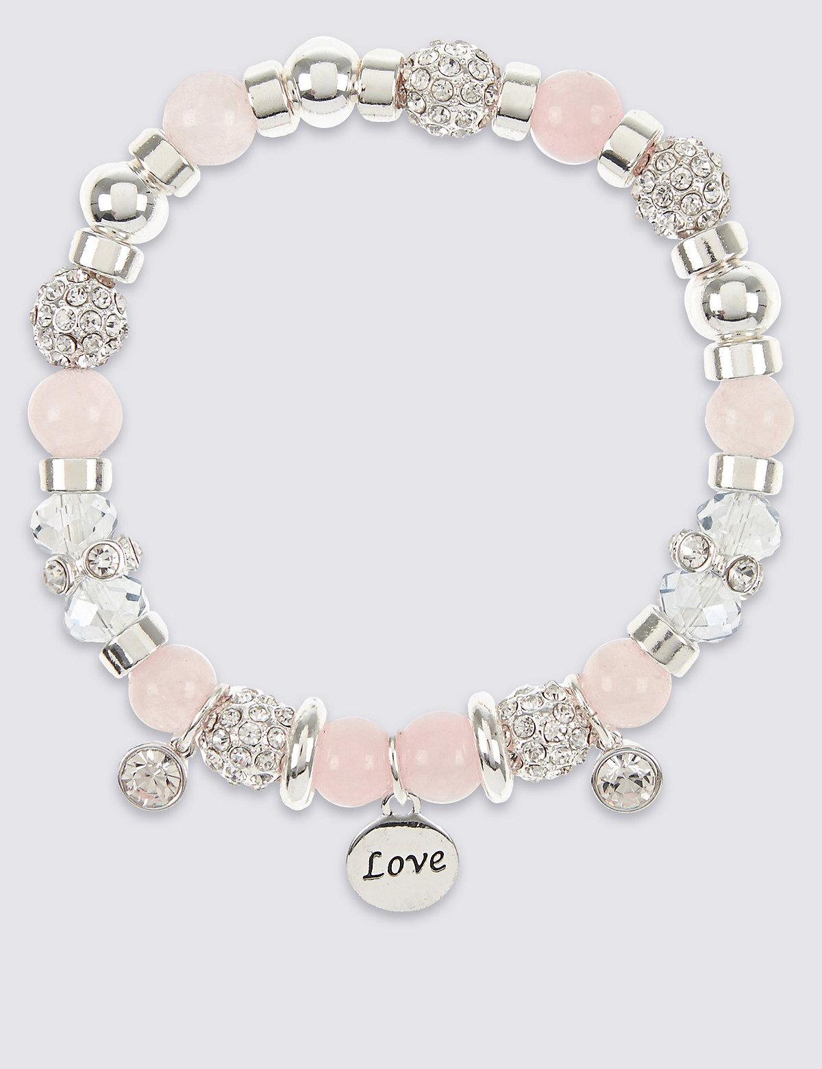 M&S Collection Sparkle Heart Charm Stretch Bracelet