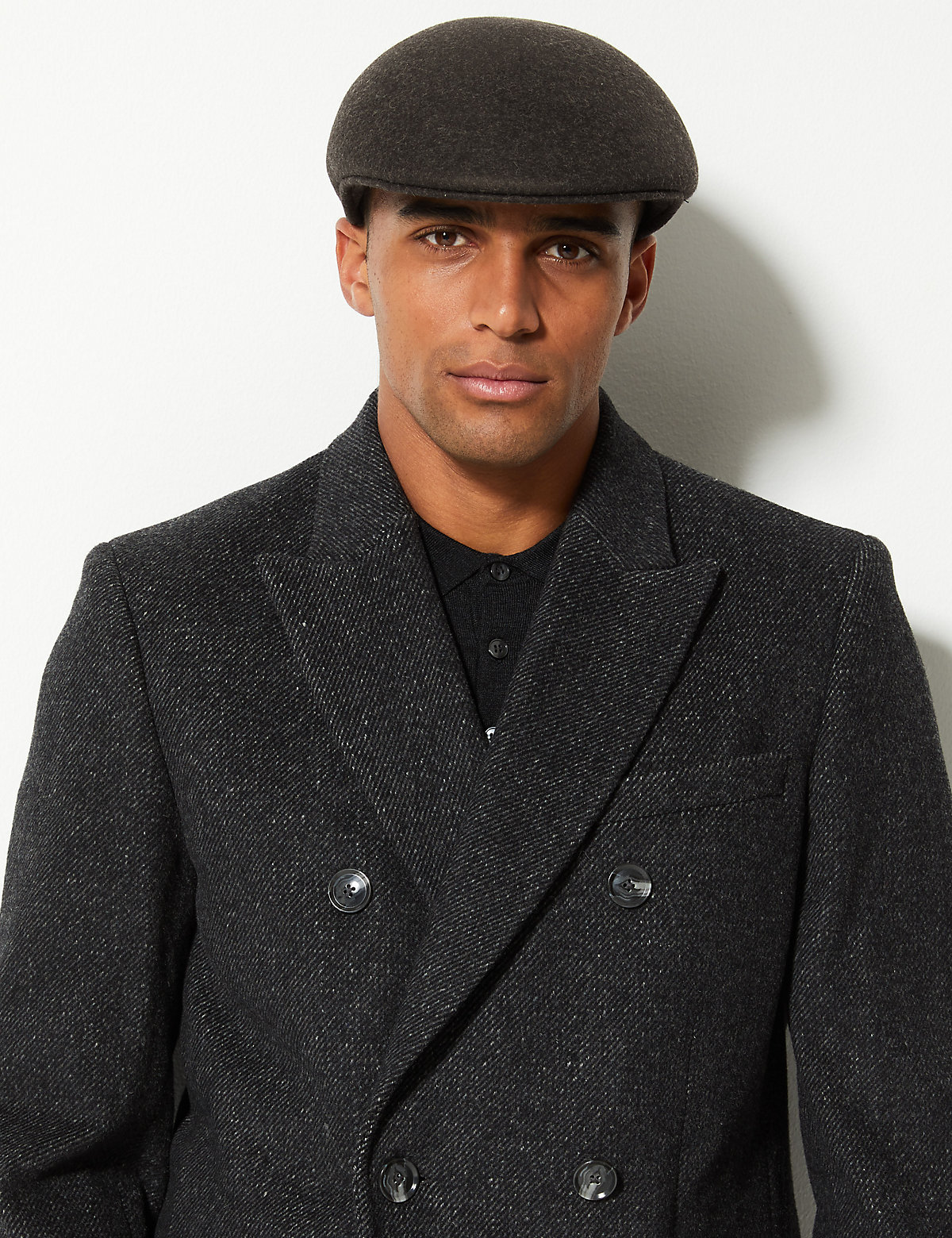 f996771f4a6c2 M S Collection Pure Wool Flat Cap with Stormwear