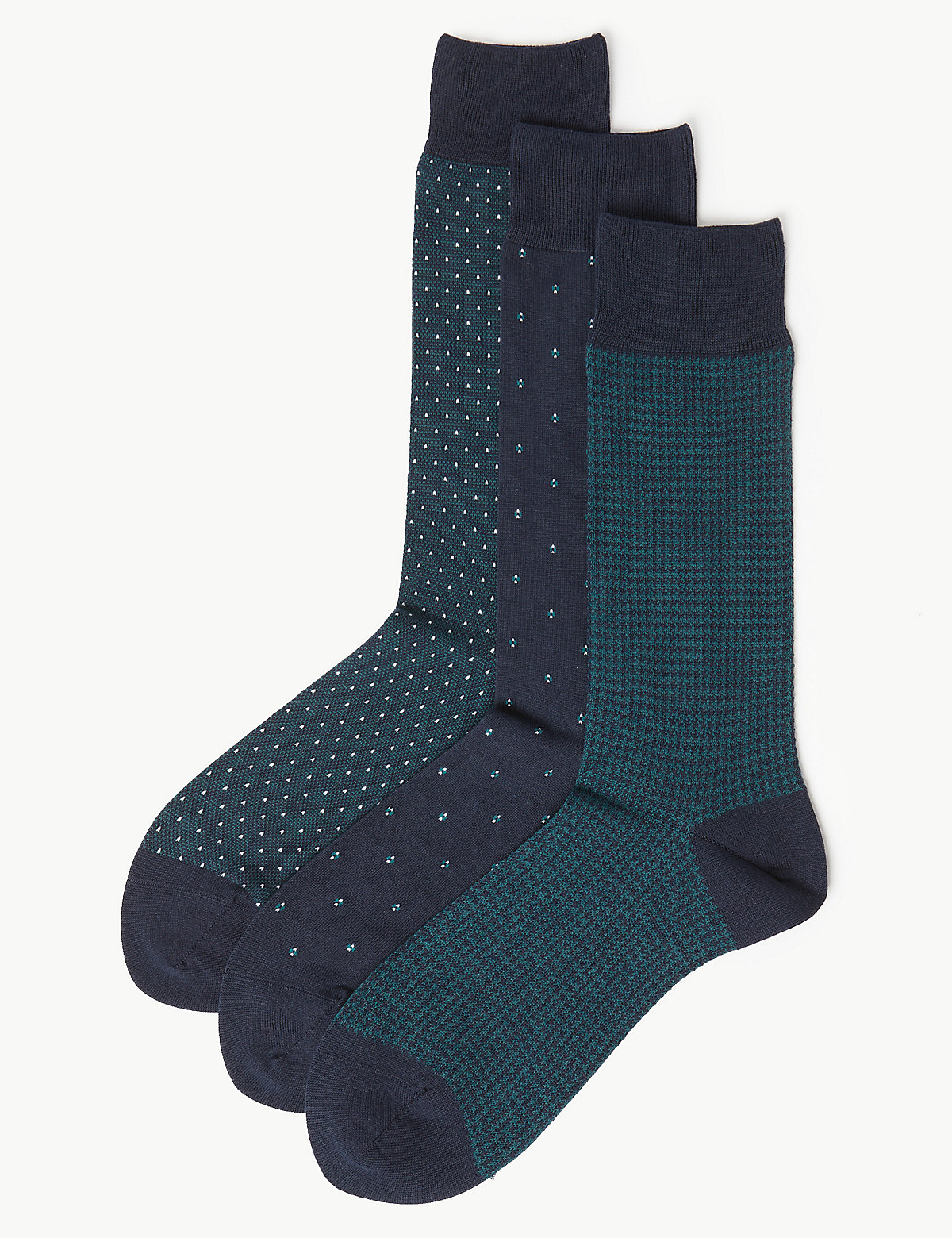 M&S Collection Luxury 3 Pack Luxury Cotton Assorted Socks