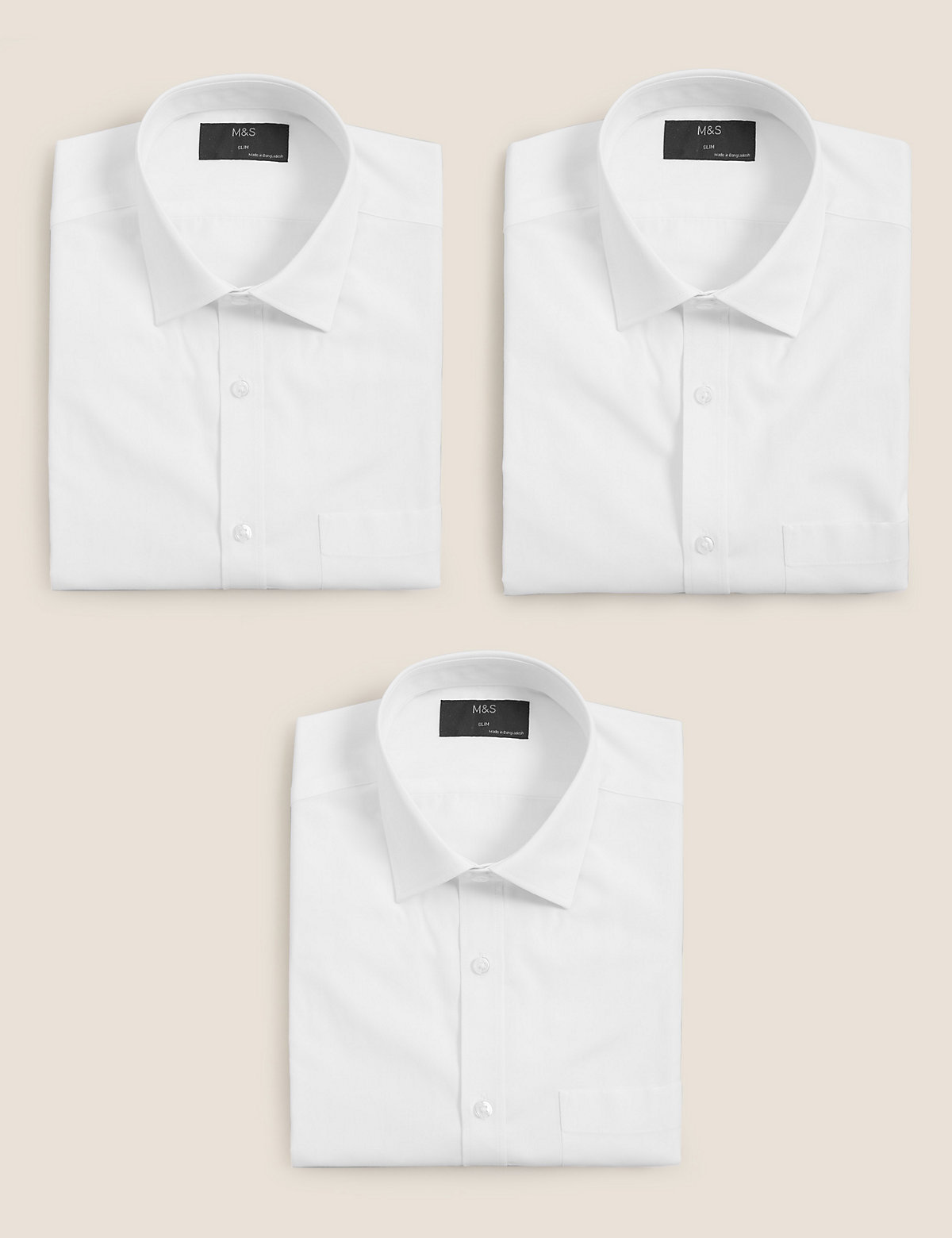 Ms Collection 3 Pack Short Sleeve Slim Fit Shirts Marks Spencer