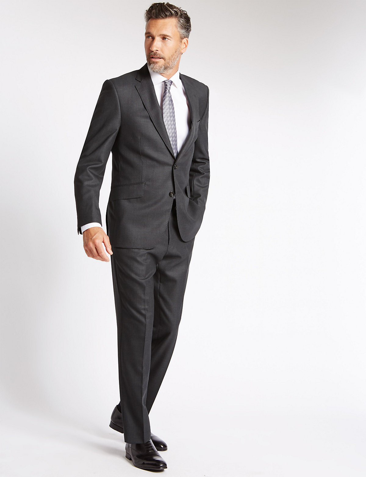 Savile Row Inspired Charcoal Textured Tailored Fit Jacket