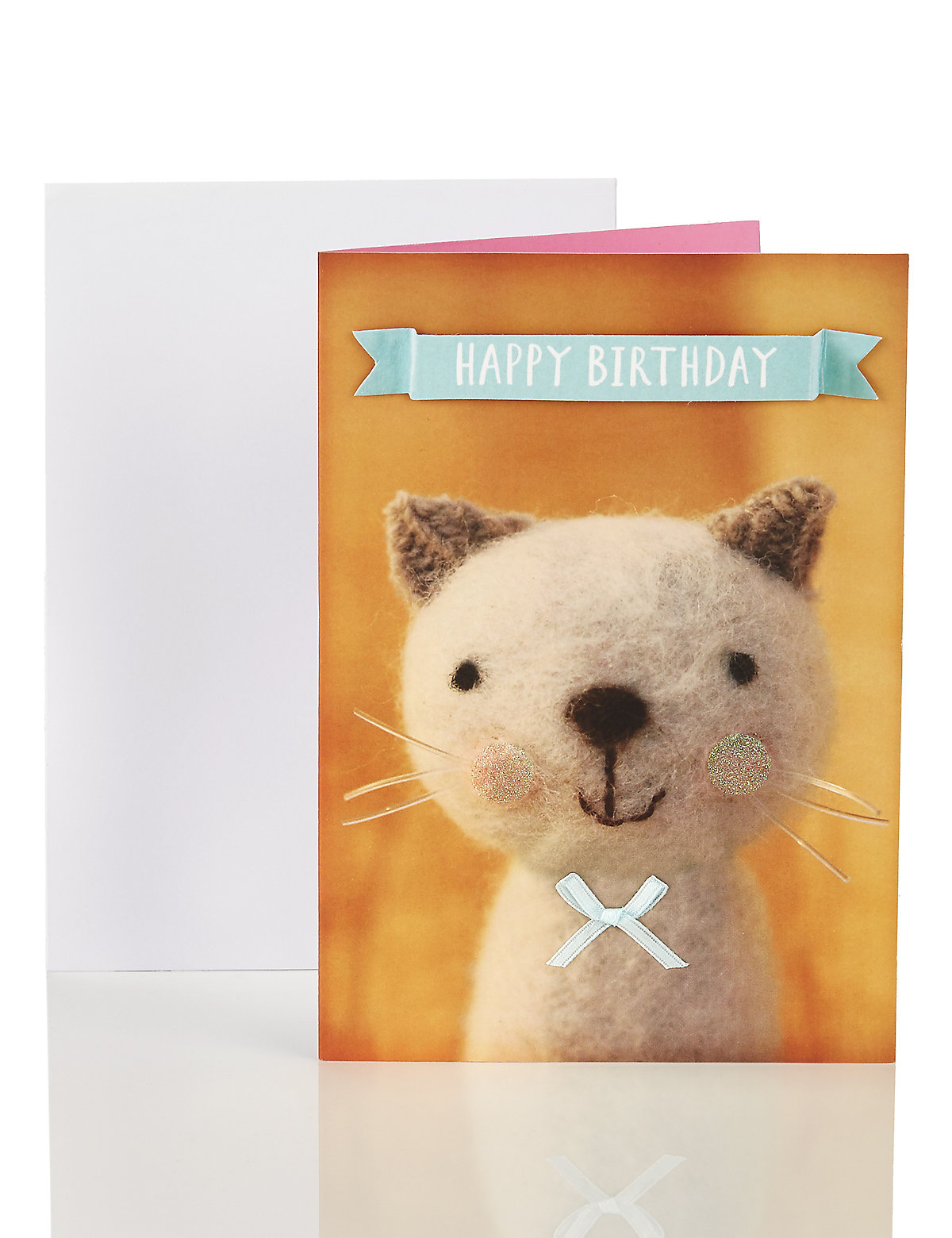 Woolly Cat Happy Birthday Card