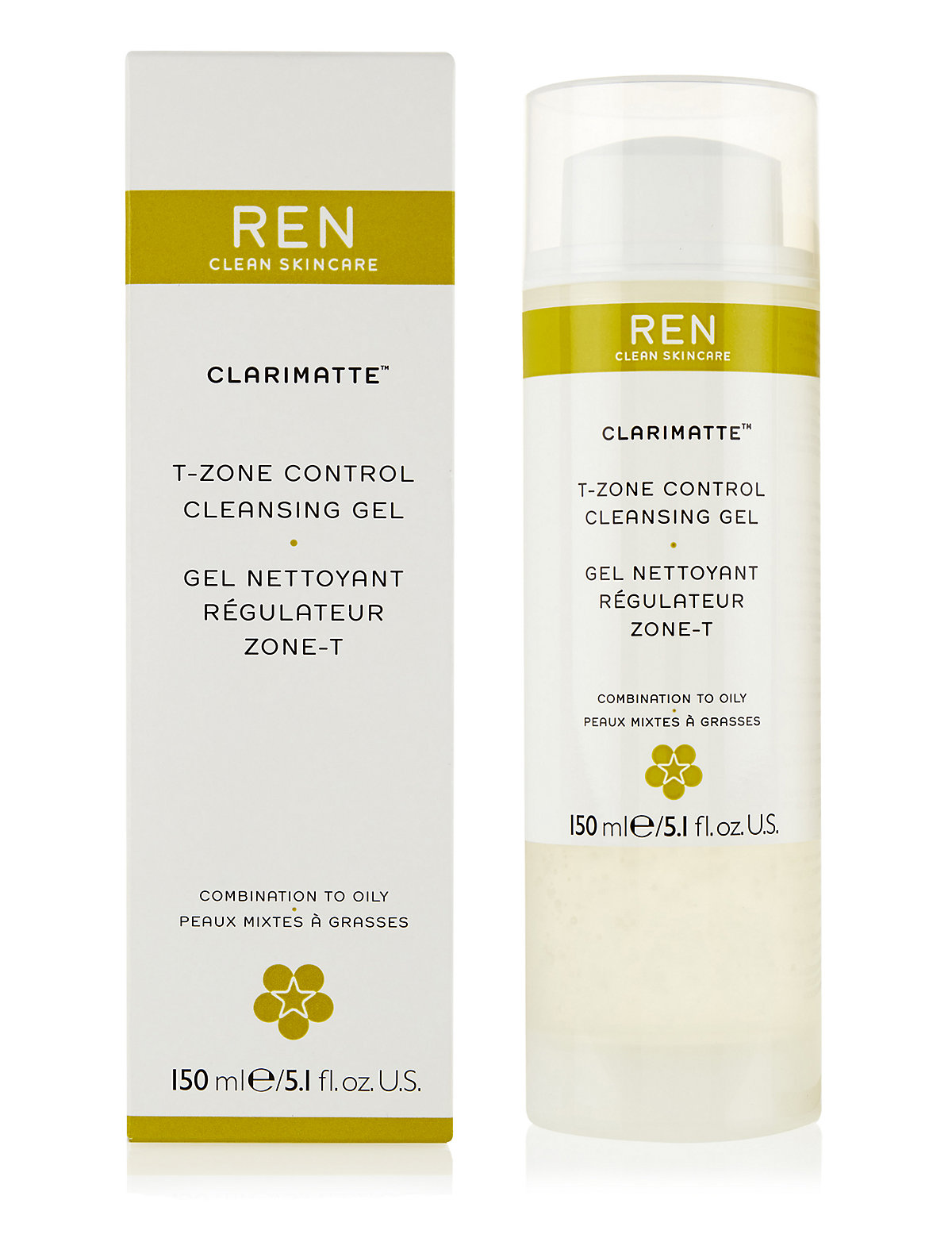REN Clarimatte T-Zone Control Cleansing Gel 150ml