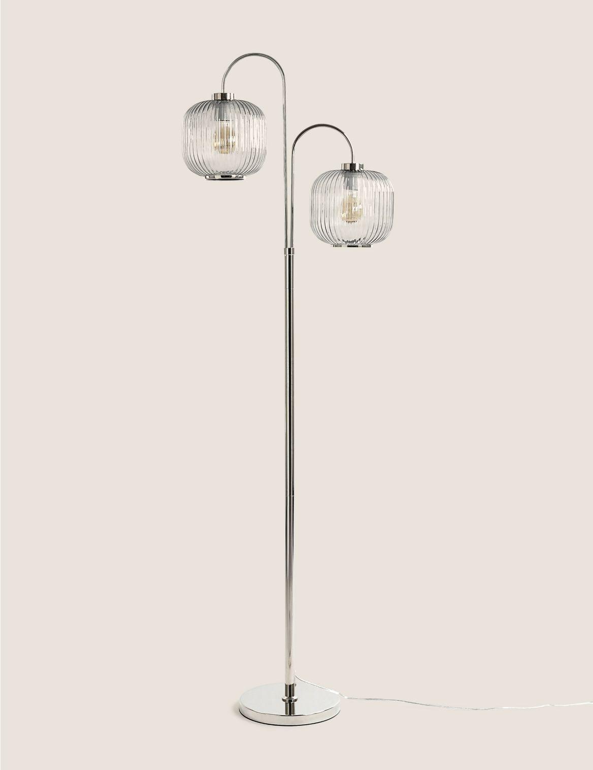 Amelia Ridged Floor Lamp Beige