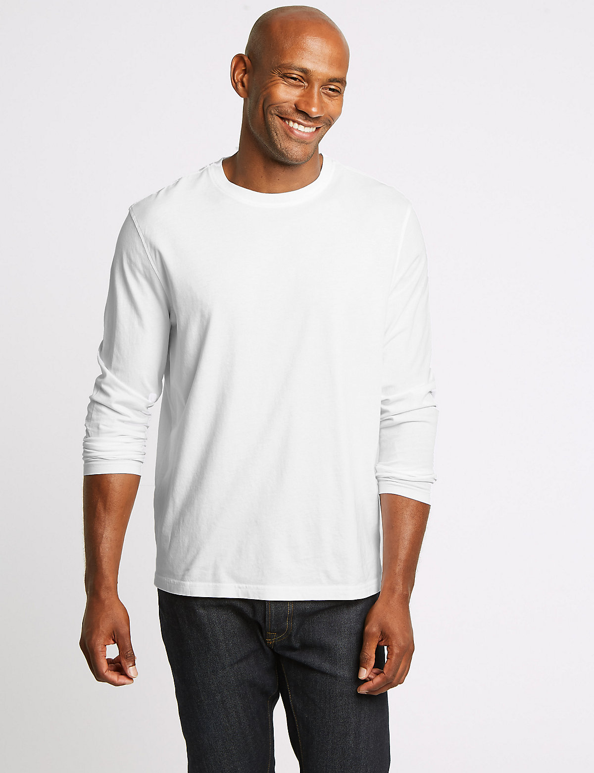 90ef8440639 M S Collection Pure Cotton Long Sleeve T-Shirt