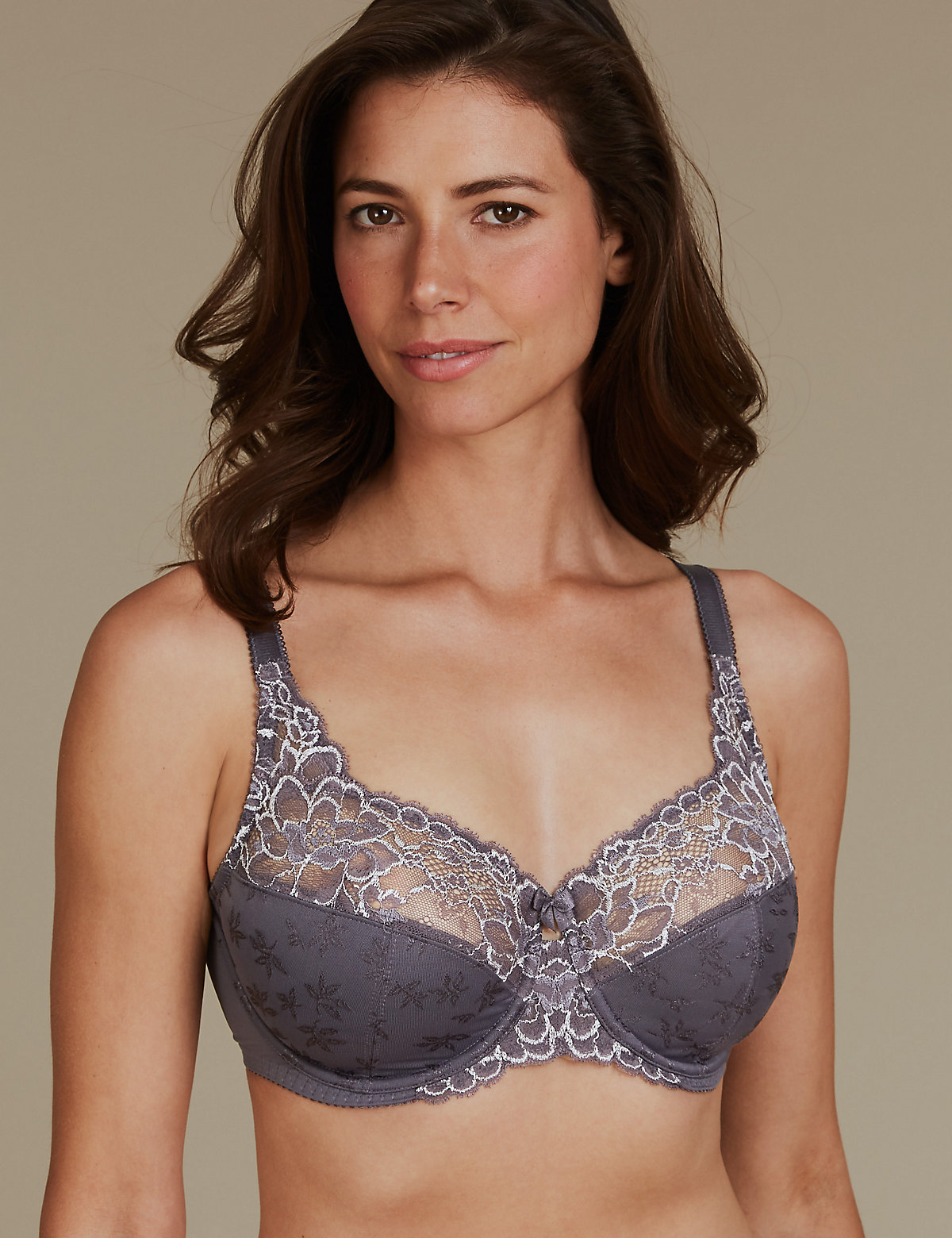 3ee90fefa1407 M S Collection 2 Tone Jacquard Lace Full Cup Bra DD-H - Marks   Spencer at  Westquay - Shop Online