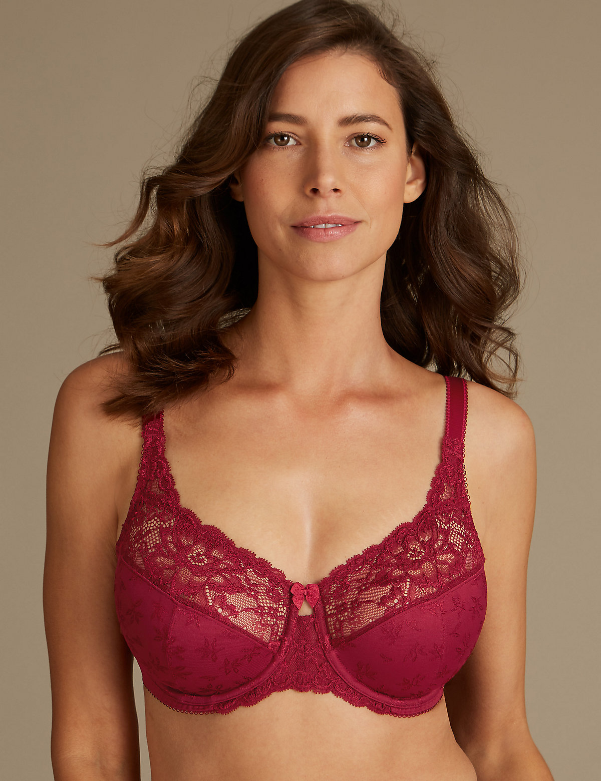 cef26d10fd9fb M S Collection Jacquard Lace Non-Padded Full Cup Bra DD-H