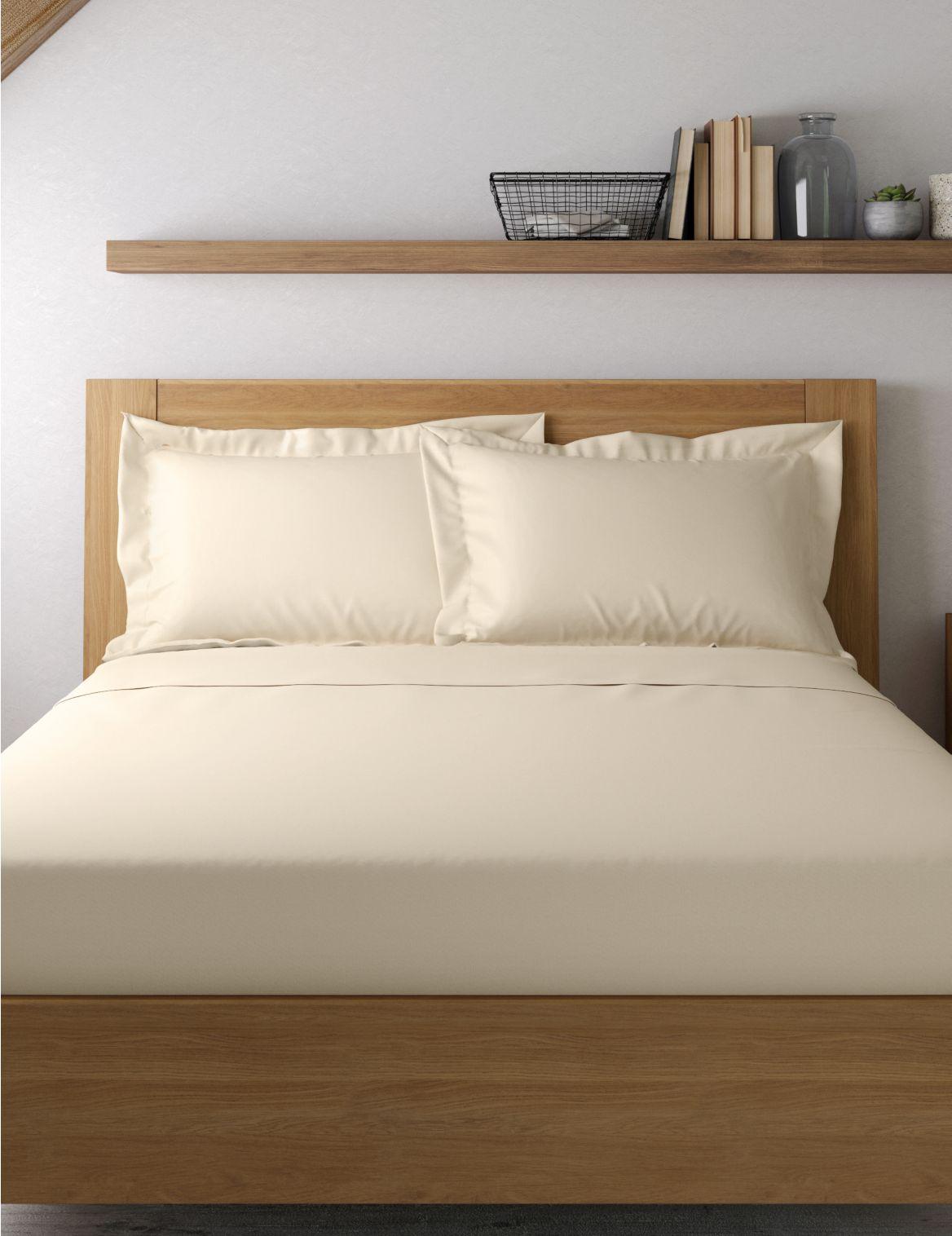 Egyptian Cotton 400 Thread Count Sateen Oxford Pillowcase Cream