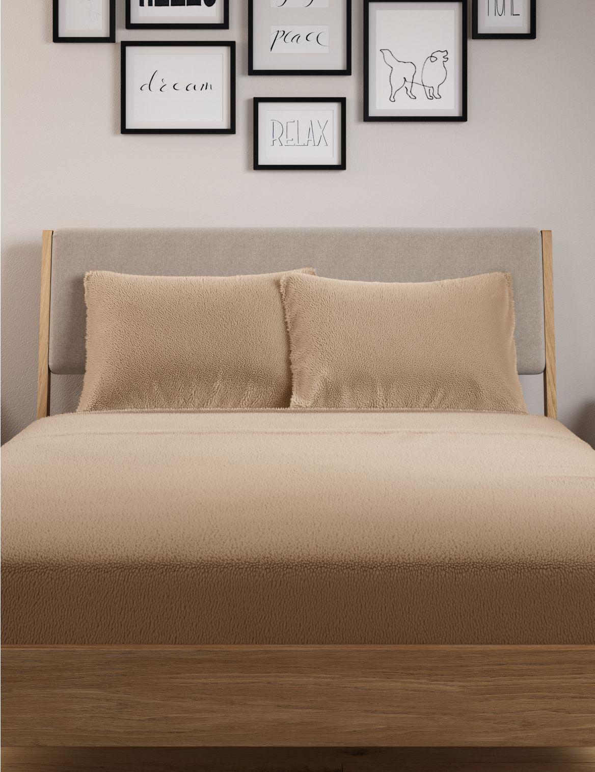 2 Pack Teddy Fleece Standard Pillowcases Cream