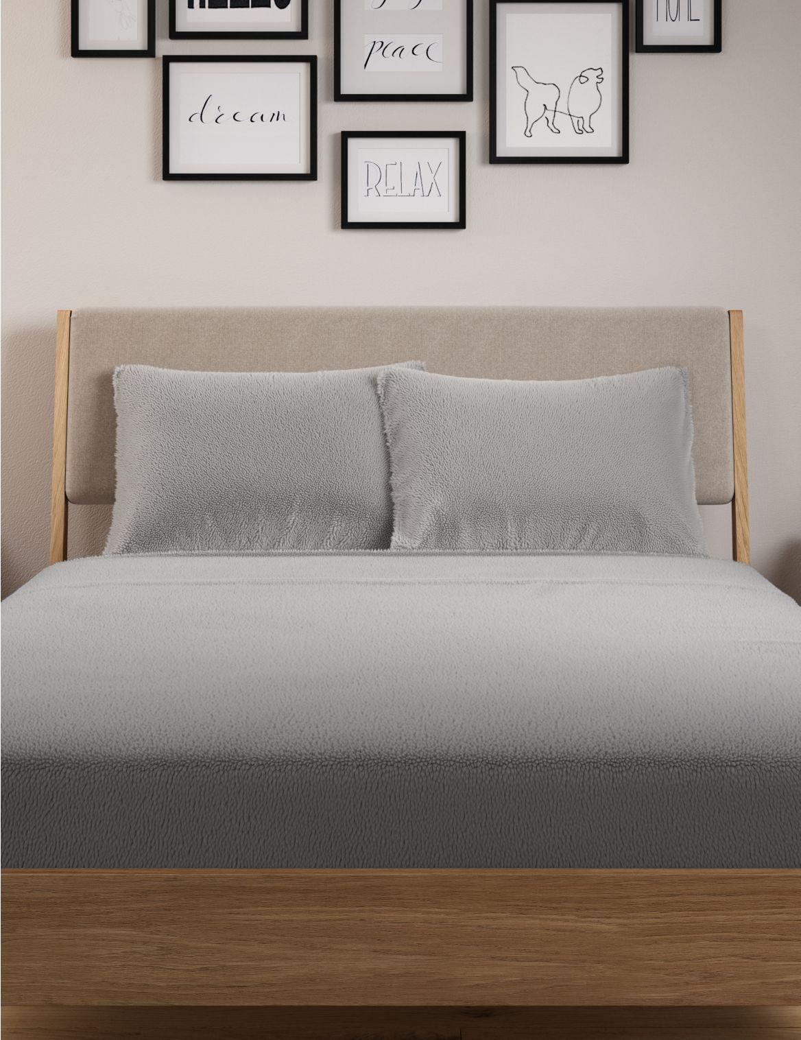 2 Pack Teddy Fleece Standard Pillowcases Grey