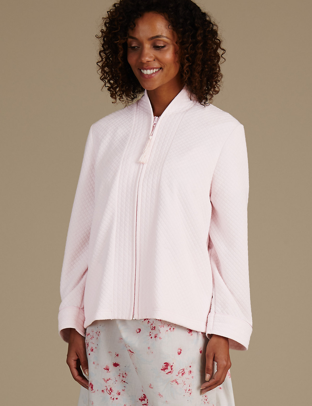 M&S Collection Quilted Zip Through Bed Jacket