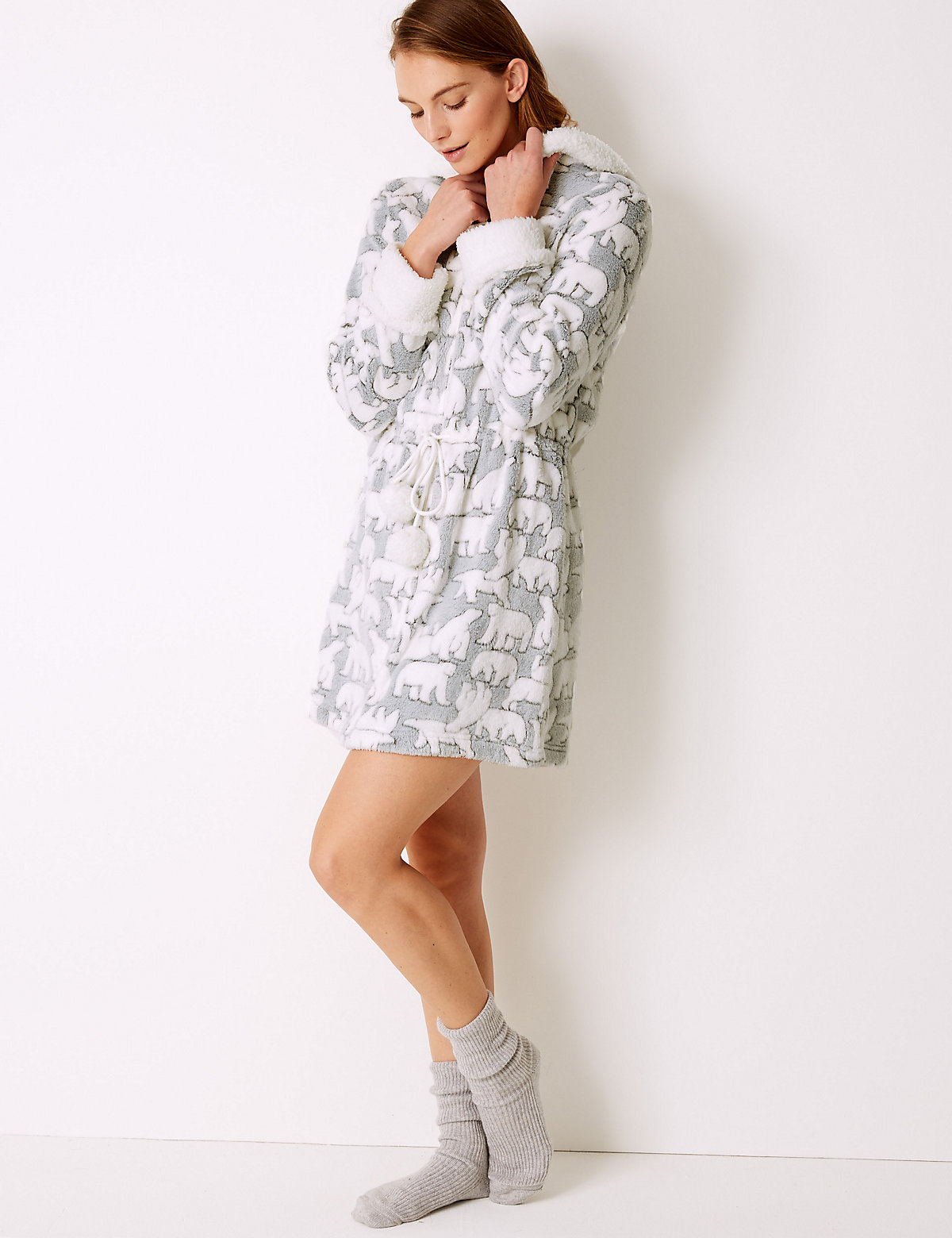 M&S Collection Textured Polar Bear Long Sleeve Dressing Gown ...