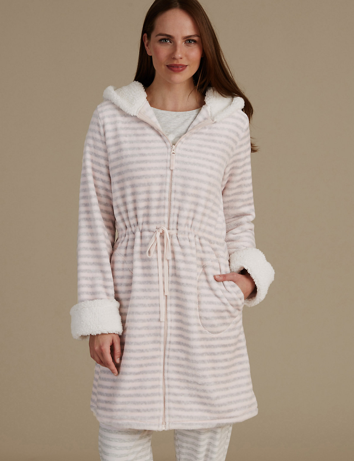 M&S Collection Hooded Striped Dressing Gown
