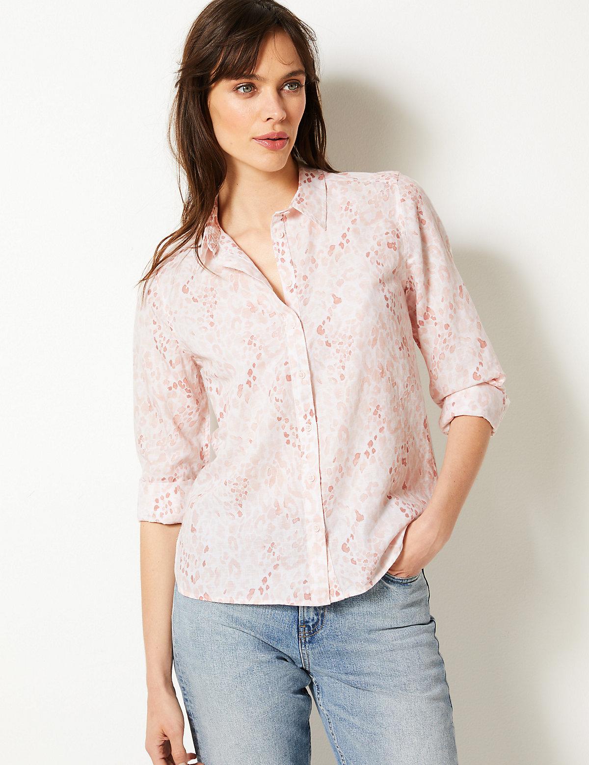 5574d3155ba M S Collection Linen Rich Animal Print Long Sleeve Shirt