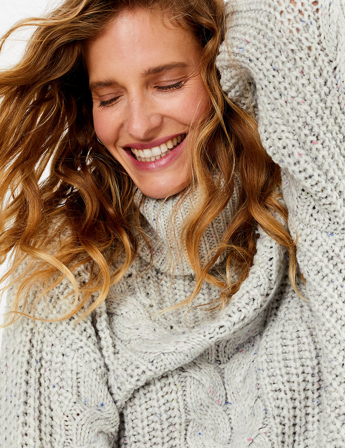 Per Una Cable Knit Roll Neck Relaxed Fit Jumper